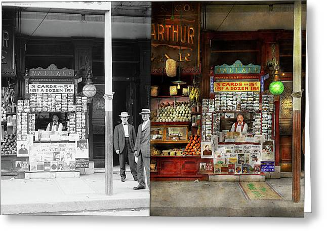 Newsstand - Standing Room Only 1908 - Side By Side Greeting Card by Mike Savad