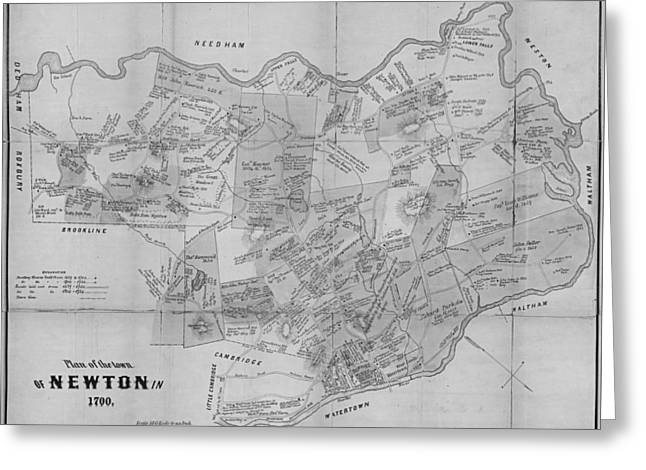 Newton Ma City Plans From 1700 Black And White Greeting Card by Toby McGuire