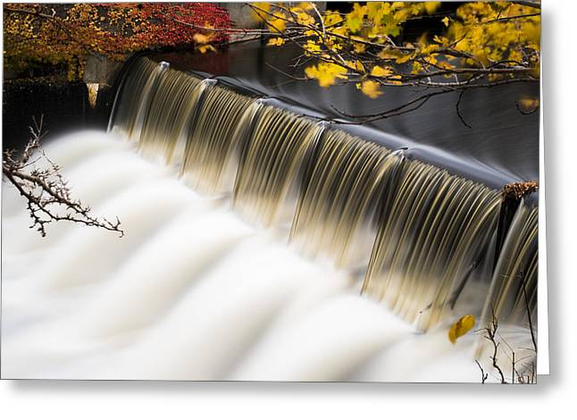 Newton Upper Falls Autumn Waterfall Greeting Card by Toby McGuire