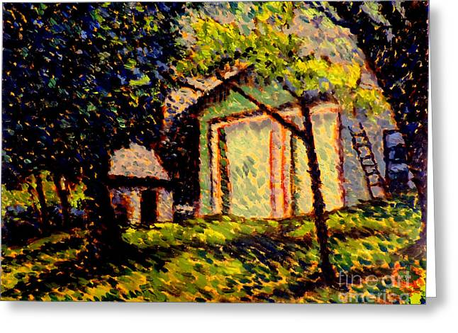 Newtons Apple II Plein Air Framed Greeting Card by Charlie Spear