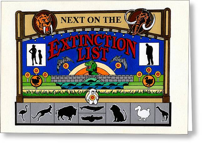 Buffalo Extinction Greeting Cards - Next on the Extinction List Greeting Card by Keith QbNyc