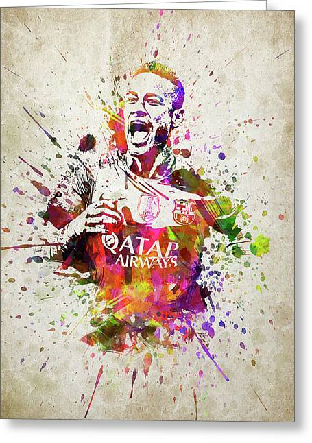 Neymar In Color Greeting Card by Aged Pixel