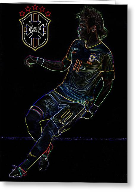 Division Greeting Cards - Neymar Neon II Greeting Card by Lee Dos Santos