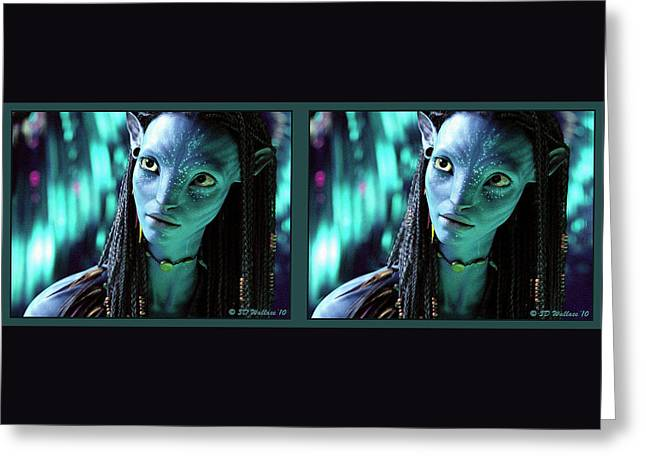 Neytiri - Gently Cross Your Eyes And Focus On The Middle Image Greeting Card by Brian Wallace