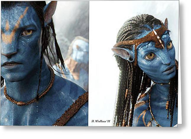Side Braid Greeting Cards - Neytiri and Jake - Gently cross your eyes and focus on the middle image Greeting Card by Brian Wallace