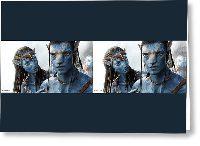 Neytiri And Jake - Gently Cross Your Eyes And Focus On The Middle Image Greeting Card by Brian Wallace
