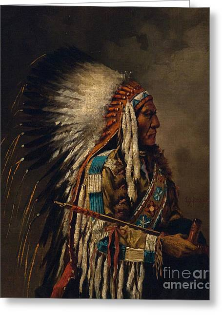 Nez Perce Chief Greeting Card by Edgar S Paxson