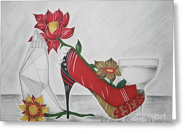Nfl 49ers Stiletto Greeting Card by Audrey Lindsey