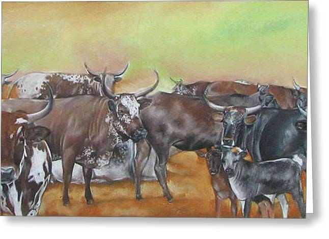 Cattle Pastels Greeting Cards - Ngunis across the river Greeting Card by Boarding  Dzinotizei