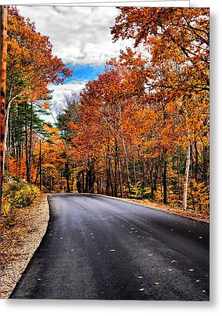 Nh Autumn Road 1 Greeting Card