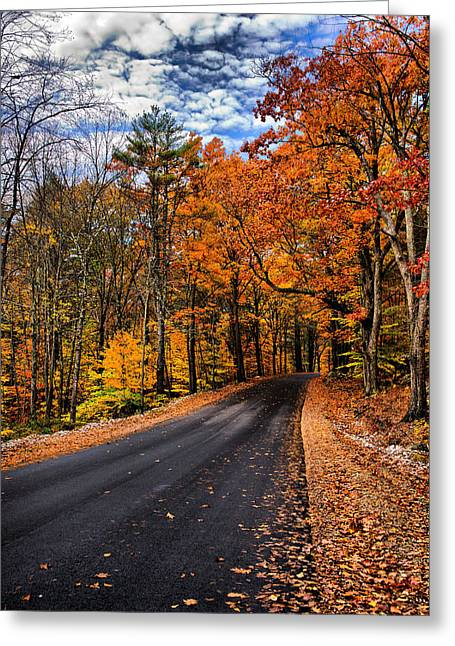 Nh Autumn Road 3 Greeting Card
