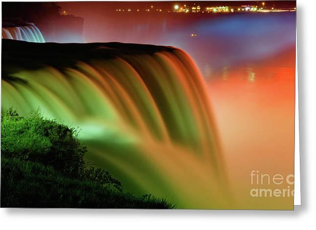 Niagara Greeting Cards - Niagara Falls Autumn Sunset Greeting Card by Charline Xia