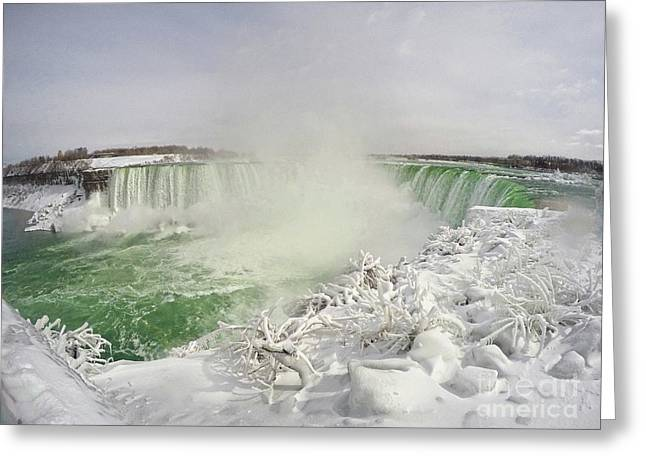 Greeting Card featuring the photograph Niagara Falls Beautiful Winter Scene by Charline Xia