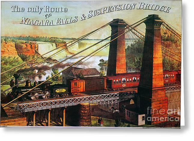 Niagara Falls Bridge, 1876 Greeting Card by Granger