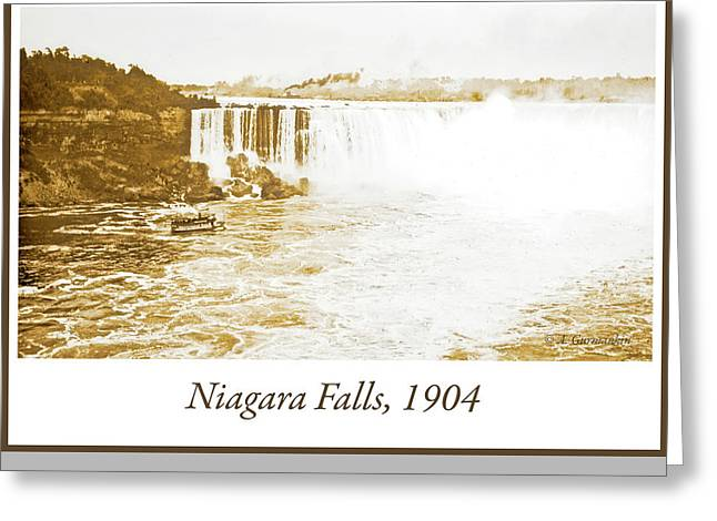 Greeting Card featuring the photograph Niagara Falls Ferry Boat 1904 Vintage Photograph by A Gurmankin
