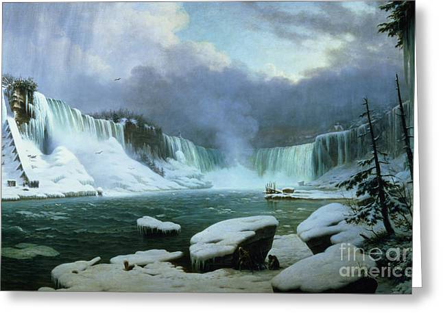 Mountain Greeting Cards - Niagara Falls Greeting Card by Hippolyte Victor Valentin Sebron
