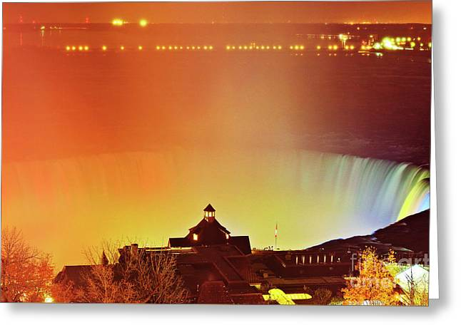 Greeting Card featuring the photograph Niagara Falls Illumination Light Show by Charline Xia