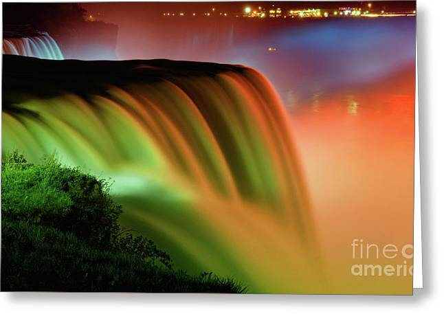 Niagara Falls Illumination Of Lights At Night Greeting Card