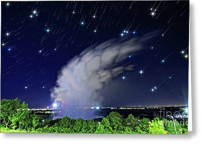 Niagara Falls Rising Mist Under Starry Sky Greeting Card by Charline Xia