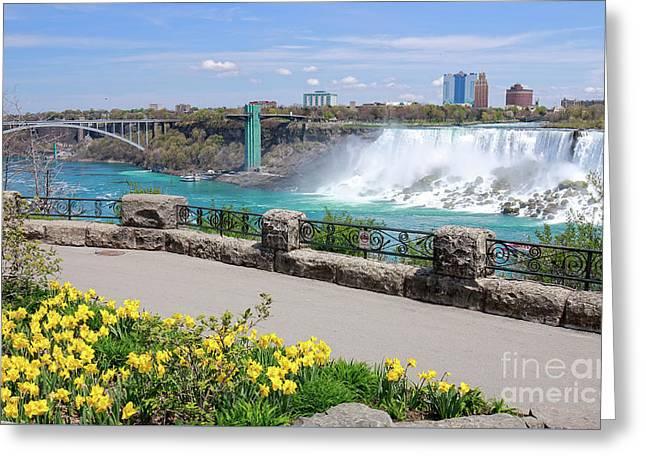 Niagara Falls Spring Time Greeting Card by Charline Xia