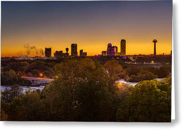 Greeting Card featuring the photograph Niagara Falls Twilight From The 9th Floor by Chris Bordeleau