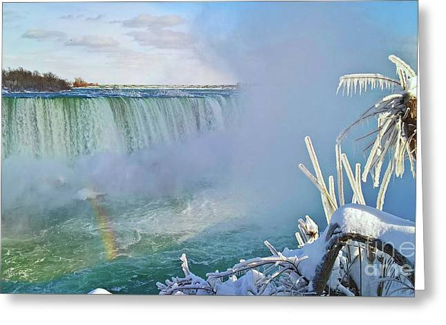 Greeting Card featuring the photograph Niagara Falls Winter Landscape by Charline Xia