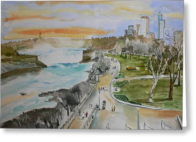 Greeting Card featuring the painting Niagara In Spring by Geeta Biswas