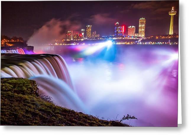 Adam Greeting Cards - Niagara Night Greeting Card by Adam Pender