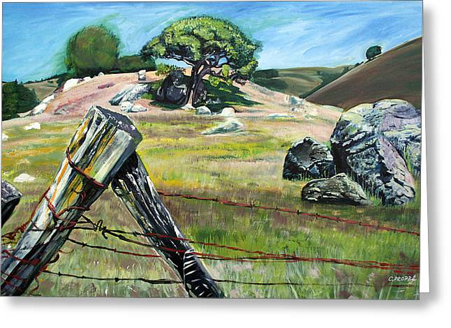 Nicasio Fence Post Greeting Card by Colleen Proppe