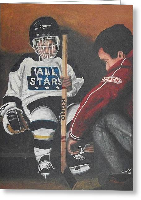 Youth Hockey Paintings Greeting Cards - Nice and Tight Greeting Card by Ron  Genest