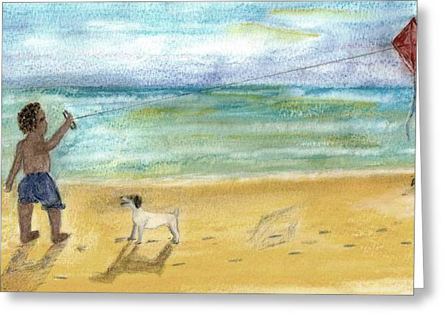Little Boy Mixed Media Greeting Cards - Nice dog Greeting Card by Thomas J Norbeck