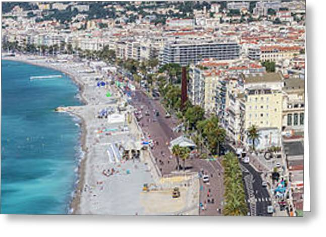 Nice - Promenade Des Anglais And Old Town Panoramic View Greeting Card by Melanie Viola