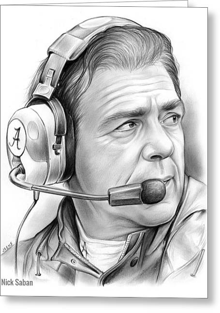 Nick Saban Greeting Card by Greg Joens