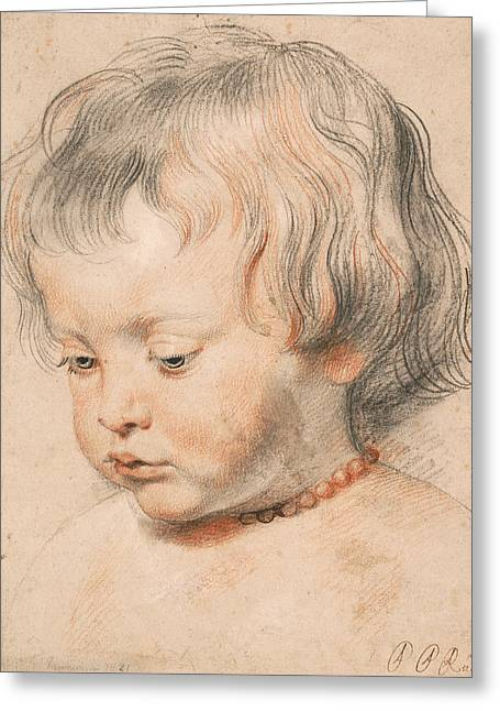 Nicolaas Rubens Wearing A Coral Neckless Greeting Card