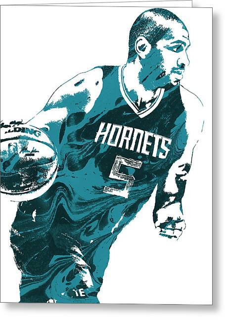 Nicolas Batum Charlotte Hornets Pixel Art 3 Greeting Card by Joe Hamilton