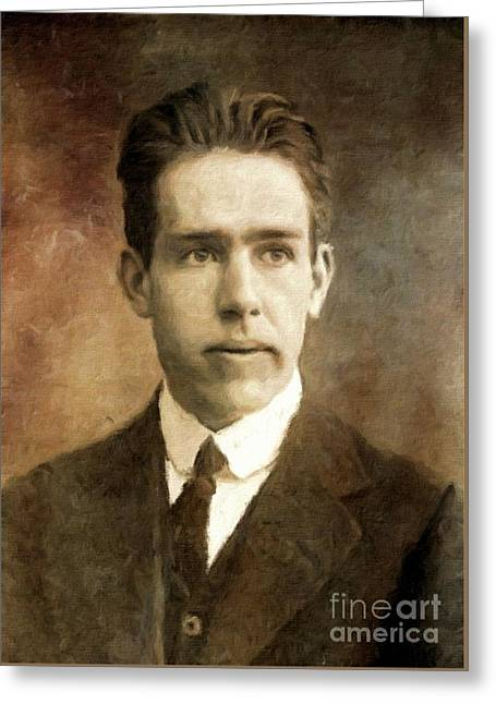 Niels Bohr, Physicist By Mary Bassett Greeting Card