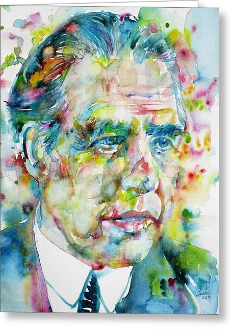 Greeting Card featuring the painting Niels Bohr - Watercolor Portrait by Fabrizio Cassetta