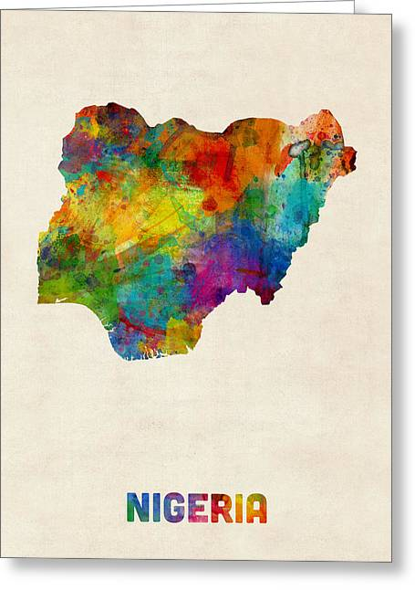 Nigeria Watercolor Map Greeting Card by Michael Tompsett