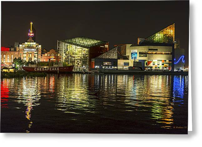 Night Across The Harbor  Greeting Card by Brian Wallace