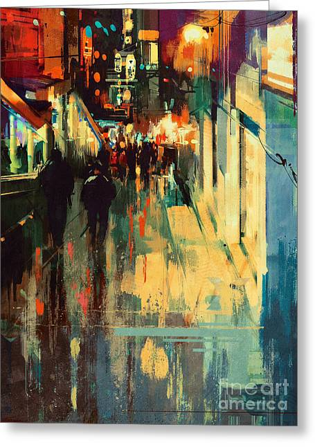 Greeting Card featuring the painting Night Alleyway by Tithi Luadthong