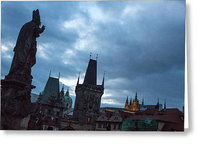 Greeting Card featuring the photograph Night Along The St. Charles Bridge by Matthew Wolf