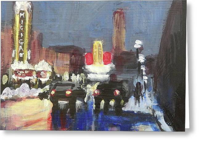 Night Around Michigan Theater Greeting Card by Yoshiko Mishina
