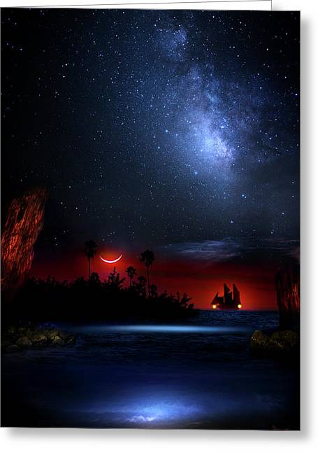 Night At Pirate's Lagoon Greeting Card by Mark Andrew Thomas