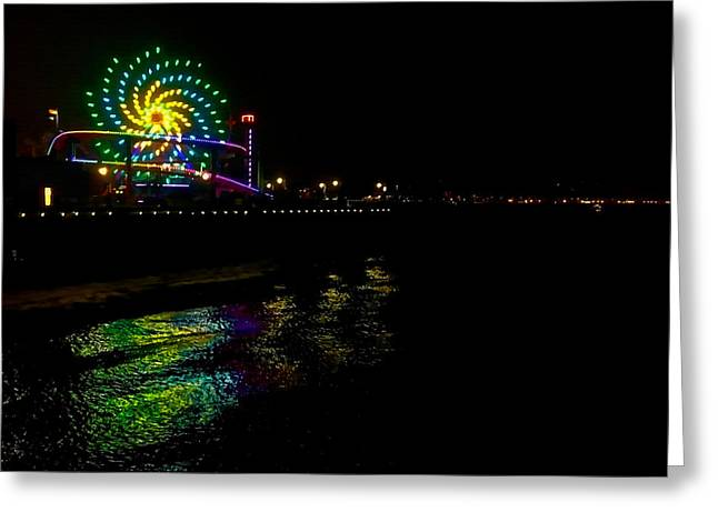 Night At Santa Monica Pier Greeting Card by Art Block Collections