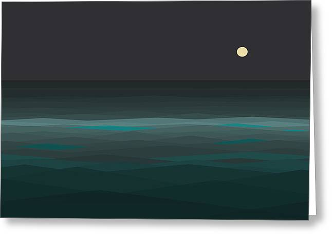 Night At Sea Greeting Card by Val Arie