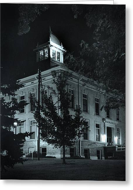 Night At The Court House Greeting Card by Jim Furrer