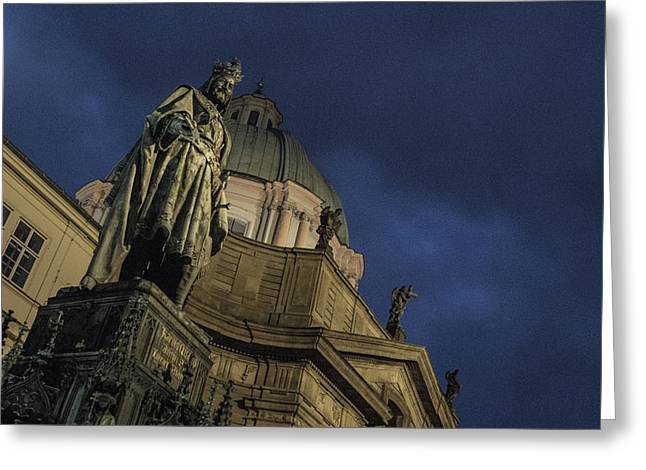 Greeting Card featuring the photograph Night At The Foot Of St. Charles Bridge by Matthew Wolf