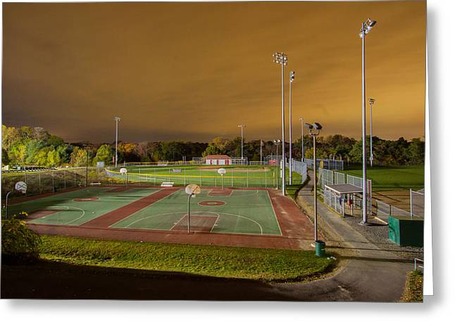 Night At The High School Basketball Court Greeting Card