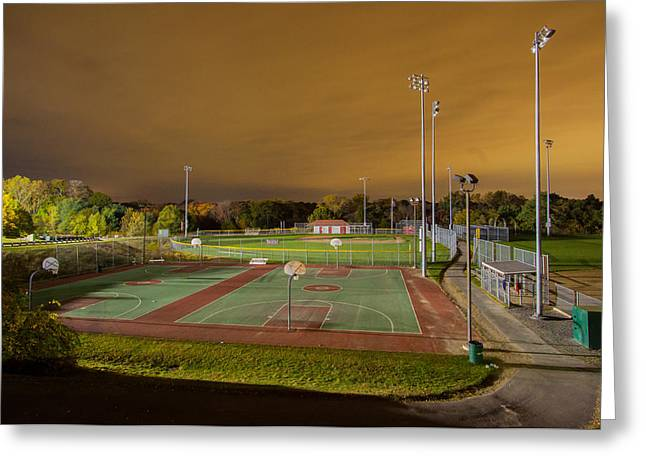 Night At The High School Basketball Court Greeting Card by Brian MacLean