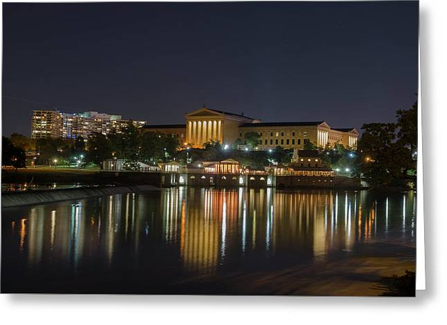 Night At The Philadelphia Waterworks And Art Museum Greeting Card by Bill Cannon